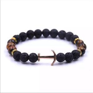 NWOT Lava stone anchor bead bracelet